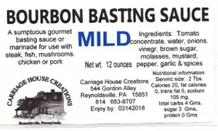 Carriage House Creations Recalls Carriage House Various Bourbon Basting Sauces and Hot Barbecue Sauce due to Undeclared Soy and Peanuts