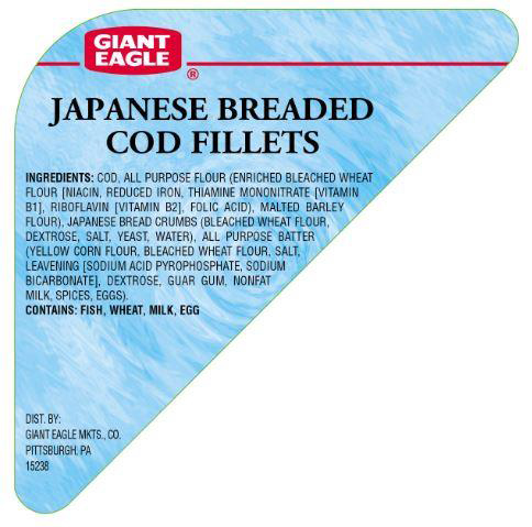 Giant Eagle Voluntarily Recalls Japanese Hand Breaded Cod Fillets Due to an Undeclared Soy Allergen