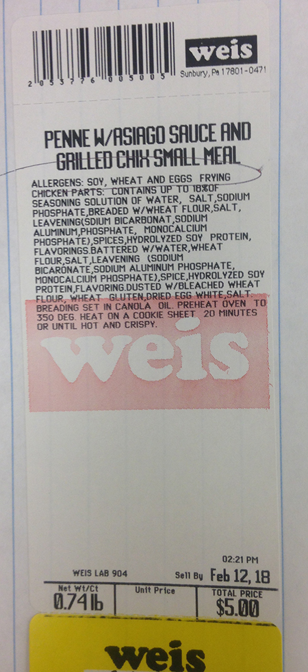 Weis Markets Issues Recall for its Pre-Made Penne Pasta with Asiago Sauce and Grilled Chicken Single Serving Meal Due to Undeclared Milk Allergen