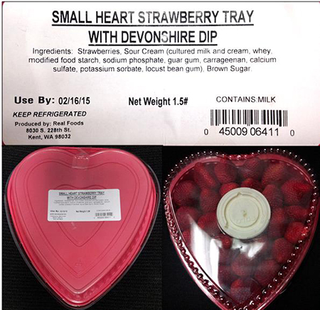 Kent, WA Firm Issues Allergy Alert on Undeclared Soy and Egg Allergens in Small Heart Strawberry Tray with Devonshire Dip