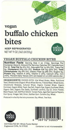 Allergy Alert Issued by Sunneen Health Foods for Undeclared Pecan in Vegan Buffalo Chicken Bites
