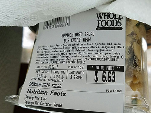 "Whole Foods Market recalls ""Our Chefs' Own"" Spinach Orzo Salad due to undeclared tree nut allergen (Pine Nut)"