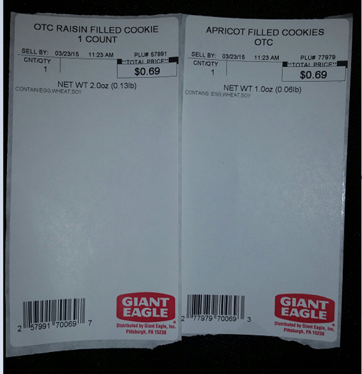Giant Eagle Voluntarily Recalls Raisin Filled and Apricot Filled Cookies Due to an Undeclared Milk Allergen