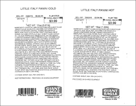 Giant Eagle Voluntarily Recalls Little Italy Paninis Due to an Undeclared Egg Allergen