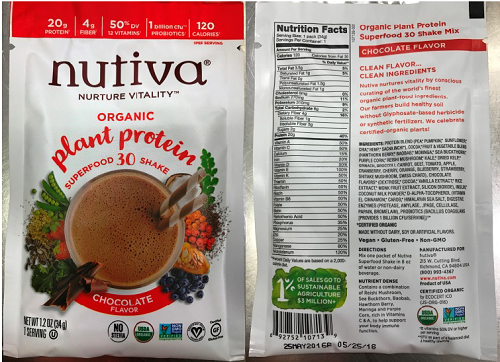 Nutiva Expanded Voluntary Recall for Undeclared Peanuts In All Lots of Organic Plant Based Protein Superfood 30 Shake