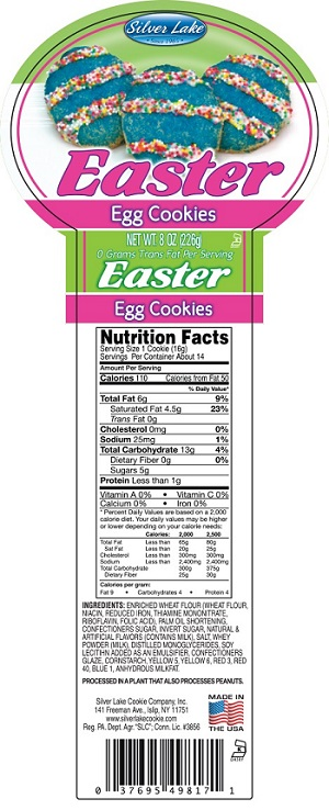 "Silver Lake Cookie Company, Inc. Issues Allergy Alert On Undeclared Eggs In ""Easter Egg Cookies"""