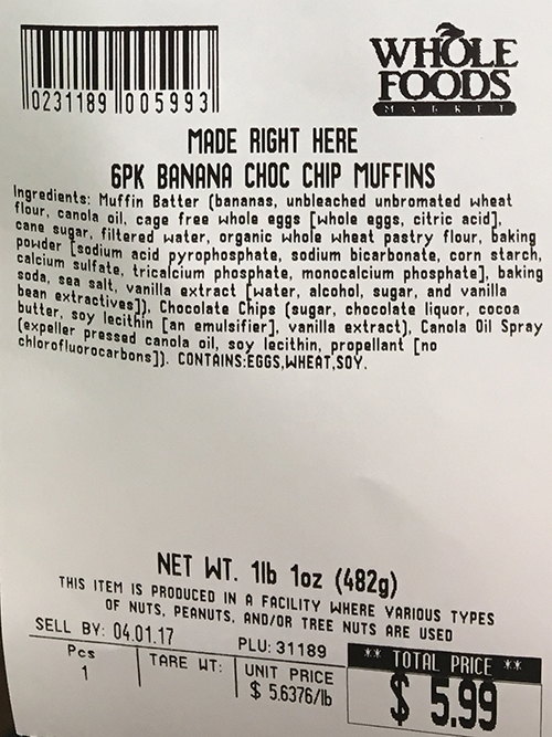 Allergy Alert Issued by Whole Foods Market in Hadley, Massachusetts For Undeclared Walnuts in Banana Chocolate Chip Muffins