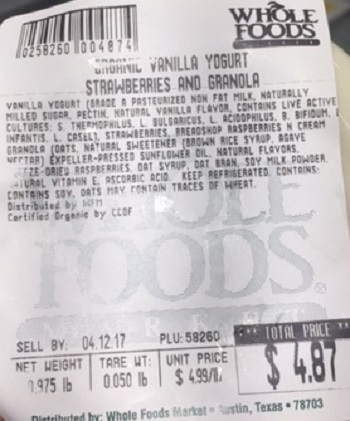 Allergy Alert Issued by Whole Foods Market store in Dedham, Massachusetts for In-Store Produced Yogurt and Granola Parfaits due to Undeclared Almonds