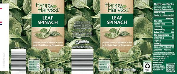 Voluntary Recall Notice of Happy Harvest Canned Spinach Due to Potential Undeclared Peanut Allergen from Product Mislabeling