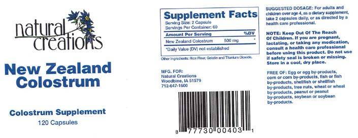 Natural Creations Issues Allergy Alert on Undeclared Milk Ingredient in Dietary Supplement New Zealand Colostrum