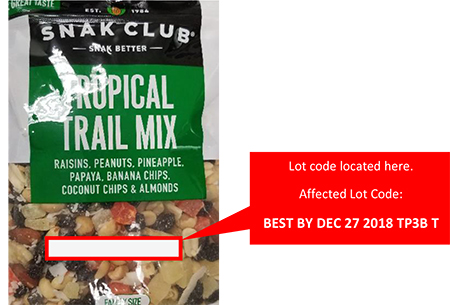 Century Snacks LLC Issues Allergy Alert On Undeclared Milk, Soy, Wheat and Cashews in Snak Club Family Size Tropical Trail Mix