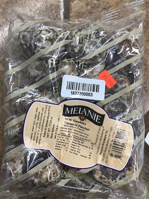 Melanie Wholesale Inc. Issues Allergy Alert on Undeclared Peanuts in Melanie Mini Cookies with Caramel Flavor