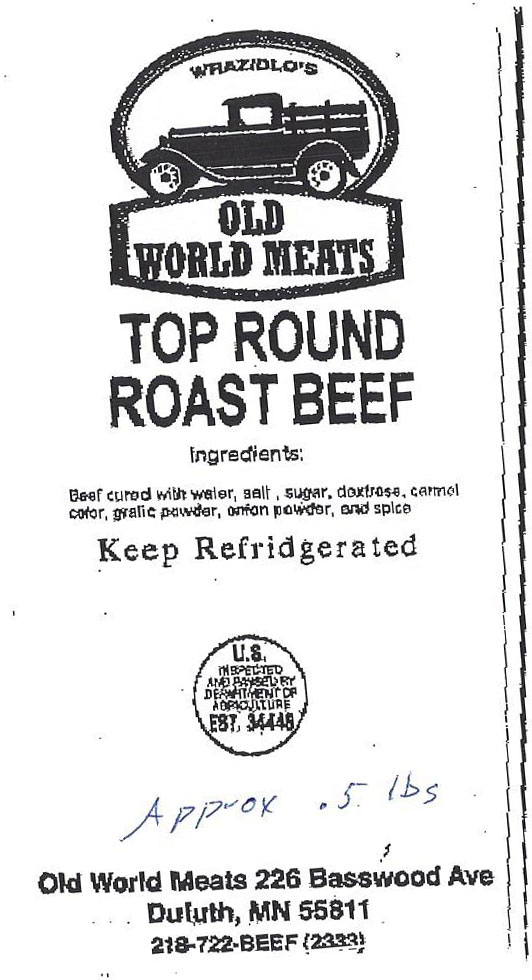 Old World Meats Recalls Roast Beef Products Due to Misbranding and Undeclared Allergen (Soy)