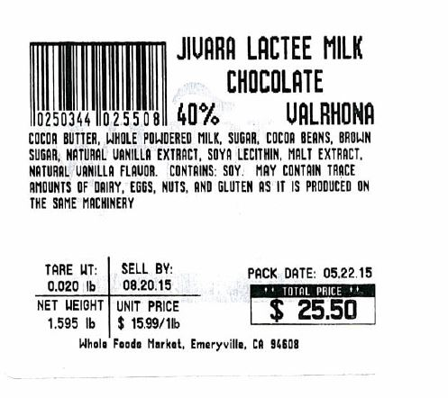 Whole Foods Market's Oakland Store Voluntarily Recalls Jivara Lactee Milk Chocolate Valrhona Cut and Wrap Pieces Due to Undeclared Tree Nut Allergen
