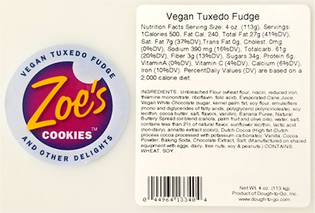 Dough-To-Go Issues Allergy Alert on Undeclared Tree Nuts in Zoe's Vegan Tuxedo Fudge Cookie