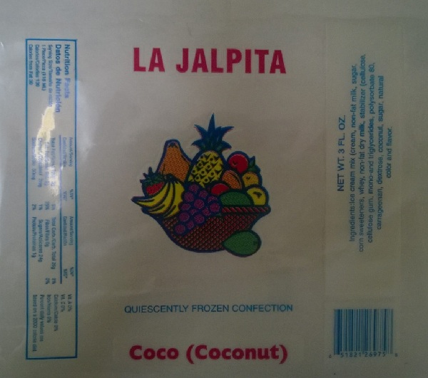 Paleteria La Jalpita Issues Allergy Alert On Undeclared Milk And Sulfite In Ice Cream Bars And Popsicles