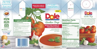 Dole Packaged Foods Recalls Roasted Garlic Tomato Basil Soup in Texas Due to Undeclared Milk Allergen