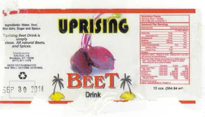 CONSUMER ALERT: UNDECLARED MILK IN Uprising brand Carrot Drink, Beet Drink, and in Peanut Punch