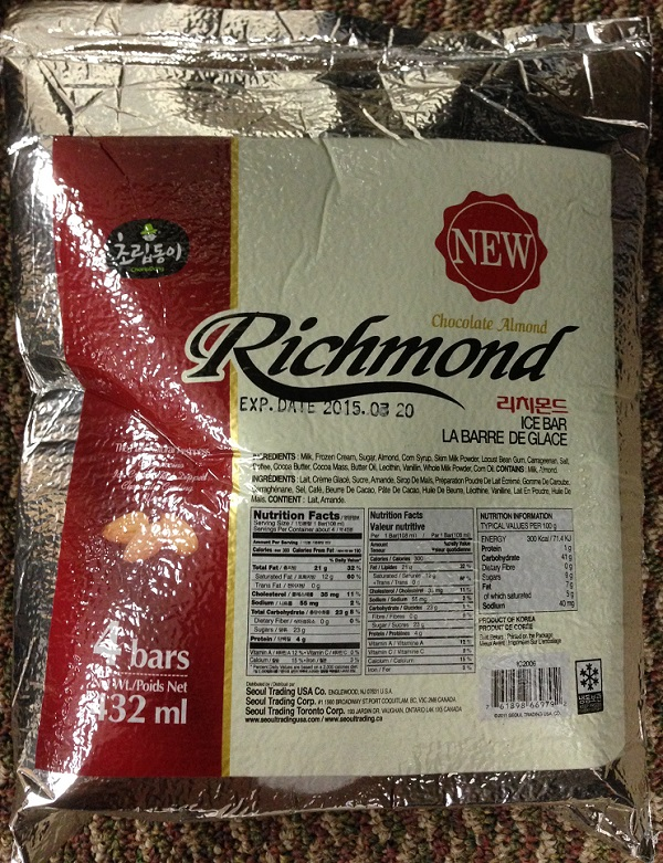 Seoul Shik Poom Inc. Issues Allergy Alert on Undeclared Eggs in Choripdong Chocolate Almond Richmond Ice Bar