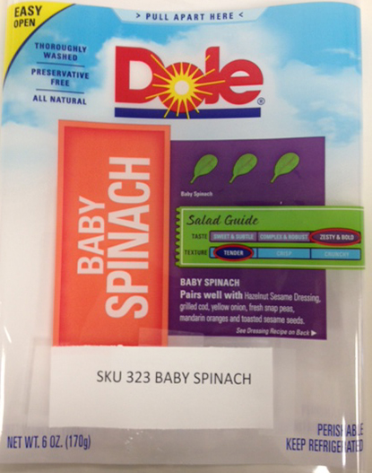 Dole Fresh Vegetables Announces Allergy Alert and Voluntary Limited Recall of DOLE-branded Spinach Due to Possible Contamination by Walnuts