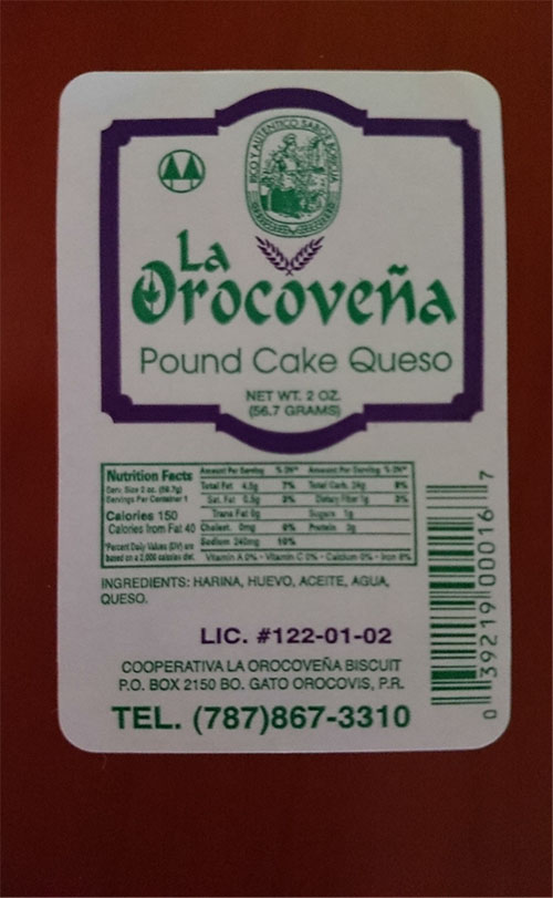 La Orocovena Biscuit Voluntarily Recalls Pound Cake de Queso Due to Undeclared Milk, Soy and Wheat