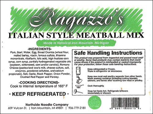 Northside Noodle Company Recalls Meatball Products Due To Misbranding and Undeclared Allergens