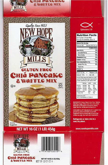 New Hope Mills Issues Allergy Alert on Undeclared Soy in New Hope Mills Gluten Free Chia Pancake and Waffle Mix