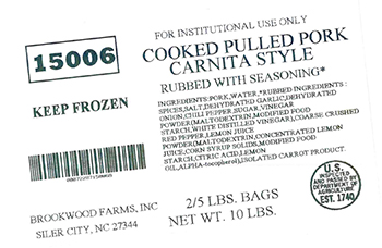 Brookwood Farms, Inc. Recalls Pulled Pork Products Due To Misbranding And An Undeclared Allergen (Soy)