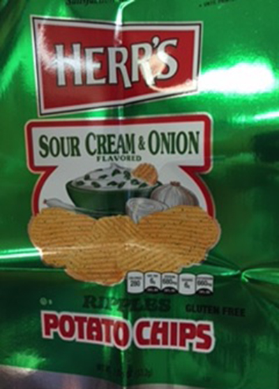 Herr's Announces Voluntary Recall of Select Bags of 1.875 oz. Sour Cream and Onion Potato Chips with Packaging Error (Wheat)