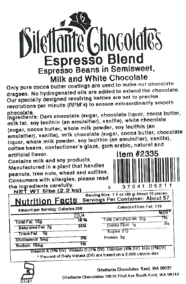 Seattle Gourmet Foods Issues Allergy Alert on Undeclared Almonds In 5 Pound Bags of Dilettante Chocolates Espresso Blend