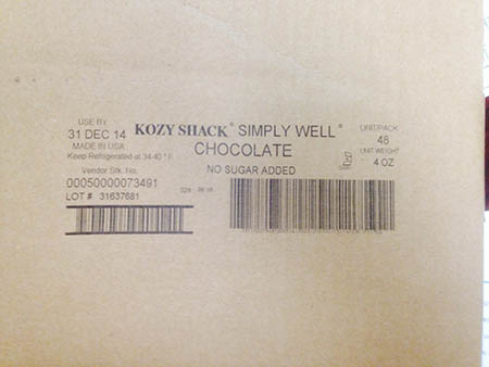 Kozy Shack Enterprises, LLC Issues Allergen Alert on Unlabeled Foodservice Chocolate Pudding Cups (Milk)