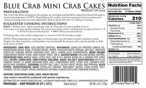 Handy Seafood Recall: Product Label Missing Milk and Fish Allergen Advisory in Whole Foods Blue Crab Mini Crab Cakes