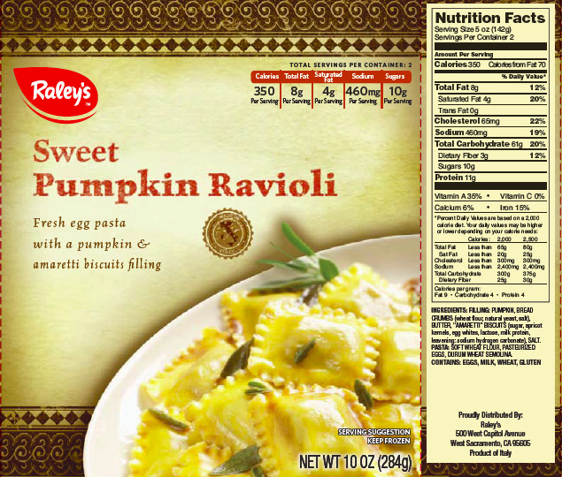 Raley's Family of Fine Stores Issues Allergy Alert on Undeclared Cashew and Almond in Raley's Frozen Sweet Pumpkin Ravioli