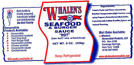 Whalen's Horseradish Products, Inc. Issues Allergy Alert on Undeclared Anchovy in Whalen's Seafood & Burger Sauce