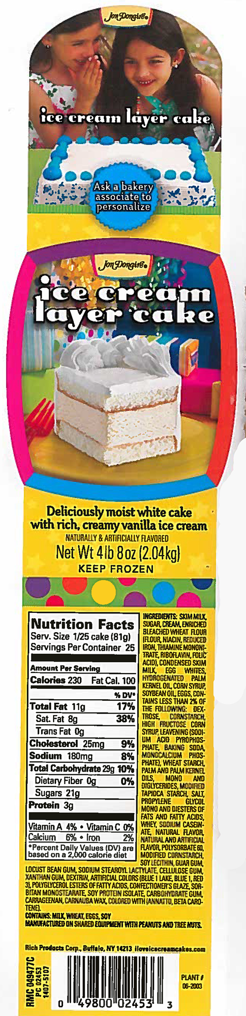 Rich Products Corporation Issues Nationwide Allergy Alert on Undeclared Walnuts in Certain Ice Cream Cake Products