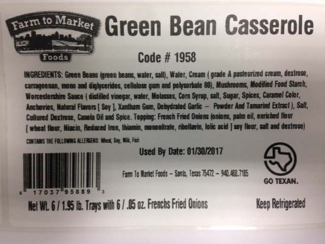 Texas Best Protein DBA Farm to Market Foods Issues Allergy Alert on Undeclared Peanut in Green Bean Casserole