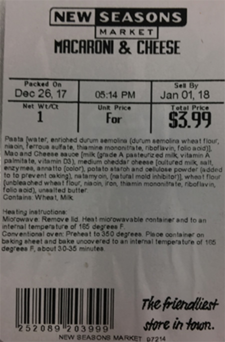 New Seasons Market Issues Allergy Alert on Undeclared Egg in Packaged Macaroni and Cheese