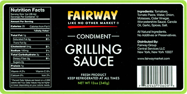 Wolfgang B. Gourmet Foods, Inc. Issues Allergy Alert on Undeclared Fish (Anchovies) in Two Lots Of Fairway Brand Condiment Grilling Sauce