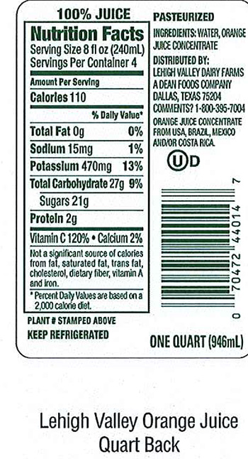 Lehigh Valley Dairy Conducts Voluntary Recall of Lehigh Valley, Swiss Premium, and Price Chopper Brand Orange Juice Because It May Contain Undeclared Allergen (Milk)
