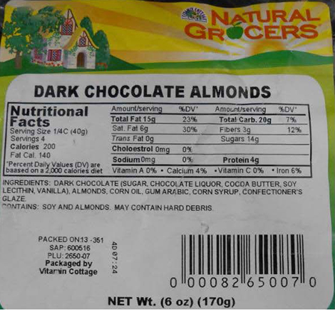 Natural Grocers by Vitamin Cottage Issues Allergy Alert on Undeclared Peanuts in Dark Chocolate Almonds