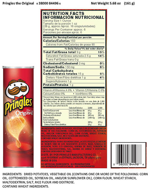 Pringles Issues Allergy Alert and Voluntary Recall of One Hours Worth of Production of Original Crisps Due to Undeclared Milk